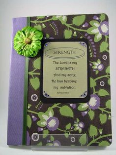 The Lord is my STRENGTH - Altered Composition notebook journal - diary. $12.00, via Etsy.
