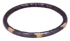 Bulk Wholesale Handmade Dark Brown Metal Bangle with Golden Patches – Antique-Look Jewelry Collection