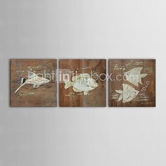 IARTS®Hand Painted Wall Art Wall Decor, Retro Style  Animal Fish Hand Painted Wall Décor Set of 3 - USD $84.14 ! HOT Product! A hot product at an incredible low price is now on sale! Come check it out along with other items like this. Get great discounts, earn Rewards and much more each time you shop with us!