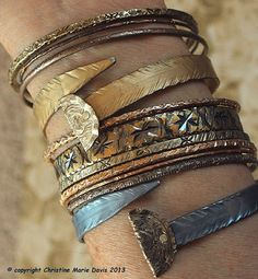 gypsy style BRACELETS and beaten bollywood bangles for the boho gypsy girl made from and by Christine Marie Davis Metal Bracelets, Bangle Bracelets, Bangles, Gypsy Style, Boho Gypsy, Bracelet Making, Jewelry Making, Vintage Knitting, Vintage Buttons