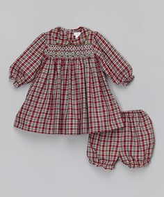 94b8acae69d4 Loving this Red Plaid Smocked Peter Pan Collar Dress & Bloomers - Infant  on #