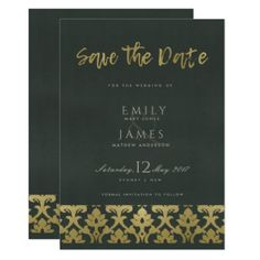 CLASSIC GOLD DAMASK FLORAL PATTERN SAVE THE DATE CARD - monogram gifts unique design style monogrammed diy cyo customize