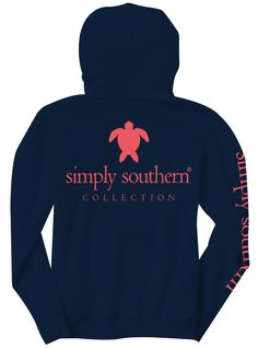 Stay toasty this winter with this 100% cotton hoodie featuring Simply Southern's beach-inspired turtle logo.