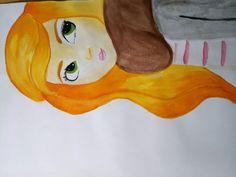 Redhead girl drawing