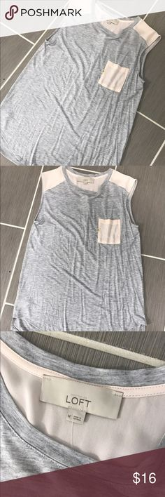 LOFT Brand Gray and Pink Sleeveless Blouse Size M This LOFT Brand Sleeveless gray and pink shirt is amazing!  Perfect for all seasons, on its own or under sweaters!  Dress it up or down.  Size Medium and true to LOFT sizing. LOFT Tops Blouses