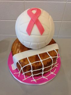 Breast Cancer Awareness Fundraiser Cake This cake was for a breast cancer awareness fundraiser at our local high schools volleyball match. Volleyball Birthday Cakes, Birthday Cake Girls, 10th Birthday, Birthday Wishes, Cute Cakes, Yummy Cakes, Breast Cancer Cake, Sports Themed Cakes, Sport Cakes