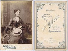 CABINET CARD Photograph Victorian Lady with Straw Hat by hall of Brighton