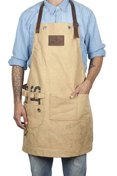 Like the multiple loops. keep them on the left side for me. Barber Apron, Shop Apron, Work Aprons, Gardening Apron, Leather Apron, Apron Designs, Aprons For Men, Bib Apron, Sewing Aprons