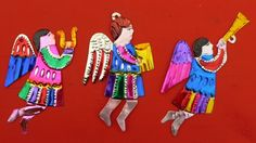 HANDCUT & PAINTED MEXICAN 'ANGELS' CHRISTMAS TREE DECORATIONS GORGEOUS FOLK ART