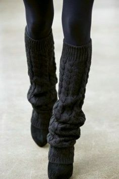 black knitted leg warmers with ballet pumps and opaque tights