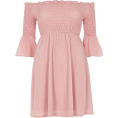 River Island Petite pink shirred bell sleeve bardot dress ($70) ❤ liked on Polyvore featuring dresses, river island, bardot / bandeau dresses, pink, women, ruched cocktail dress, jersey knit dresses, bell sleeve dress, pink dress and mini dress