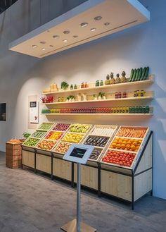 ideas for led screen design display Produce Displays, Market Displays, Store Displays, Retail Displays, Fruit Displays, Screen Design, Juice Bar Design, Vegetable Shop, Fruit Shop