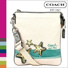 'Authentic NWT Coach Beach Starfish Motif Swingpack' is going up for auction at  2pm Sun, Sep 8 with a starting bid of $1.