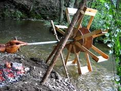 """The """"Hydrotisserie"""" (water powered rotisserie) for cooking your favorite meats over a fire in the bush! What a fun bushcraft challenge!!"""