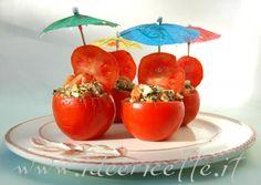 Particolare presentazione pomodori ripieni di riso al pesto di menta