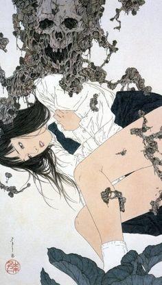 Takato Yamamoto - Japanese Illustration - Heisei Estheticism Japan Illustration, Fantasy Kunst, Fantasy Art, Pretty Art, Cute Art, Japanese Horror, Arte Obscura, Art Japonais, Wow Art