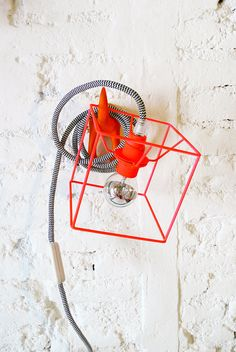 CUBE LAMP with textile cable, switch and plug - neon red.  want want want