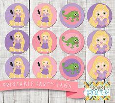 Rapunzel Birthday Party Printable Circle Tags PDF  by DorkyPrints
