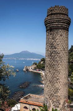 View of mount Vesuvius from Sorrento coast, Italy
