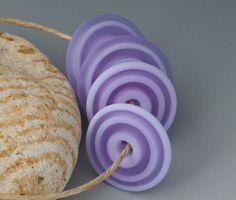 Crocus Discs - (4) Handmade Lampwork Beads - Pale Lavender, Pink - Etched, Matte. $10.00, via Etsy.