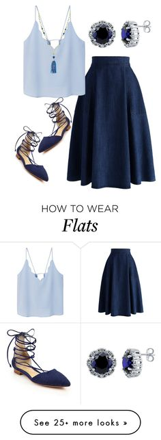 """Up in the Blues"" by karen112200 on Polyvore featuring Chicwish, MANGO, Schutz, Stella & Dot, BERRICLE and Blue"
