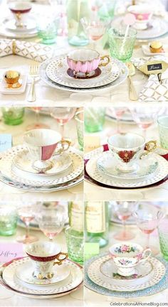 You'll get inspired by this beautiful bridesmaid luncheon with menu & recipes in a modern-meets-vintage style. Would be beautiful for any ladies luncheon or tea party! - tea cups