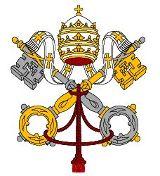 coat of arms for the Vatican City State. Take note of the crown on top, a symbol of papal authority. It is a triple tiered crown, that is also called a tiara or triregno in Latin.