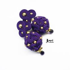 Purple Baroness - beautiful earrings soutache, soutache balls, elegant earrings.