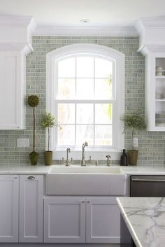 Grey green subway tile.  Absolutely love this.
