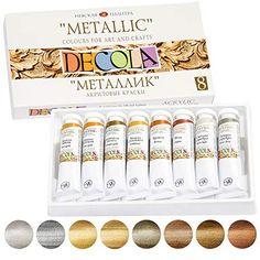 Metallic Colors, Acrylic Colors, Marker Paper, Acrylic Paint Set, Bronze, Palette, Decoration, Metallica, Adhesive
