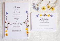 Luxe wedding invitation & RSVP with hand pressed wildflowers from the west of Ireland.