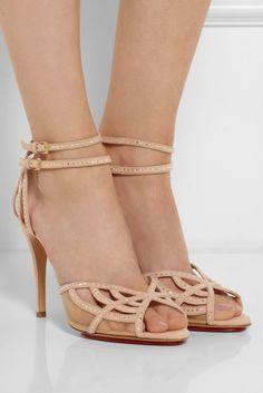 CHARLOTTE OLYMPIA Octavia Swarovski Crystal-embellished Suede Sandals - Shoes Post