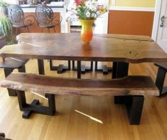 Natural Wood Dining Room Table Inspirational Make Rustic Furniture Home Natural Look Rustic Dining Room Sets, Rustic Kitchen Tables, Diy Dining Table, Solid Wood Dining Table, Dining Room Design, Rustic Table, Table Bench, Bench Seat, Rustic Decor