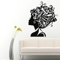 Wall Decals Vinyl Sticker Decal Girl Comb Scissors Hair Beauty Salon Decor kk294 #hairsalondecals