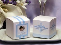 first communion centerpieces | First Holy Communion 29 Rosary Favor Cake Boxes Centerpiece - STRIPES