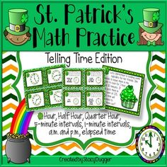 Practice telling time to the hour, half hour, quarter hour, 5 minutes, 1 minute, a.m., p.m. and elapsed time!