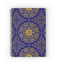 golden mandala pattern on the dark blue background by Sviatlana Kandybovich
