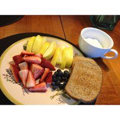 Ultimate Reset Day 4 Breakfast - assorted fruit, organic yogurt and whole grain toast