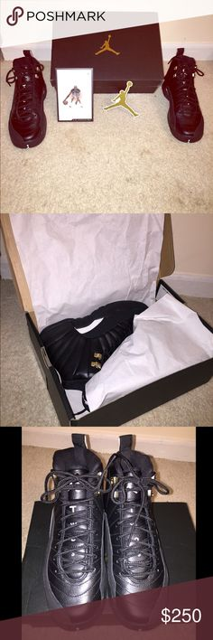 """AIR JORDAN 12 RETRO BG (GS) """"THE MASTER BLK-GOLD AUTHENTIC. Comes with box. New never worn outside of house. Tried on. Deadstock. runs small will fit Womens size 7.5/8  GRADE SIZE: 6Youth Style ID:153265 013 ,  Year:2016 Colorway:black/white-black-mtllc gold Air Jordan Shoes Athletic Shoes"""