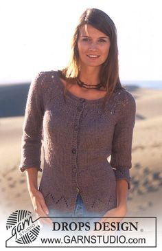 DROPS Jacket with 3/4 sleeves in Safran and Alpaca ~ DROPS Design