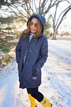 Ray ban aviator sunglasses, stripe j. Crew tissue turtleneck, yellow tory burch rain boots, burberry quilted jacket, winter fashion, winter style, preppy