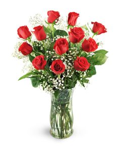 Express your affection with this classic gesture of lasting love and passion! One dozen of the finest red roses stand royally among shimmering accents of baby's breath. This gorgeous bouquet sends your message of love directly to the heart - give the thrill of romance to someone special today!  One dozen stunning red roses are expertly arranged with baby's breath, leatherleaf, and salal in a classic rose vase.