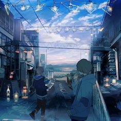work | くっか Vocaloid, Manga Art, Anime Art, Anime Scenery, Aesthetic Anime, Beautiful Landscapes, Kawaii Anime, Character Art, Fantasy Art