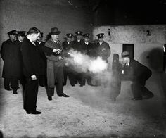 Here we witness a test of what was 'state of the art' crime fighting equipment to be used against gangsters who had the police overwhelmed with fire power. The inventor himself Elliot Wisbrod is behind his new bulletproof shield as he is fired upon by two police officers Frank Ballou & Samuel Peterson