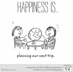 Happiness is... planning our next trip.