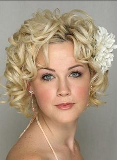 Short Wedding Hairstyles cropped delight blonde pixie side view Curly Updo In A Pony Tail Hairstyles Loose Updo Wedding Hairstyles Wedding Hairstyles Loose Updo Pretty Hairstyles Pinterest Loose Updo