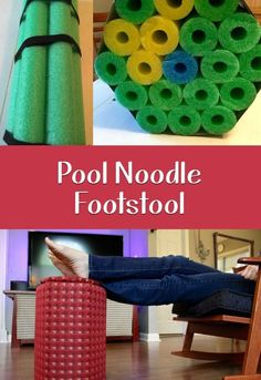 Lightweight footstool made from pool noodles