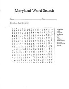 Maryland Word Search