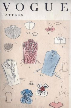 Ladies Accessories Collars and Dickies Moda Vintage, Vintage Love, Retro Vintage, Vintage Dress Patterns, Blouse Vintage, Pocket Pattern, Free Pattern, Wing Collar Shirt, Sewing Crafts