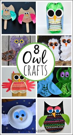 8 Adorable Owl Crafts for Kids, perfect for learning about owls or as a fun fall kids craft.